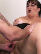 Fattie in stockings boned in office_30