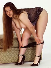 Long Haired Ass Fat Chick Posing and Stripping Black Undies_30