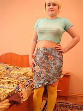 Overweight teen in yellow stockings gets all naked_30